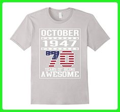 Mens 70th Birthday Gifts October 1947 - 70 Yrs old B-day T Shirt 3XL Silver - Birthday shirts (*Amazon Partner-Link)