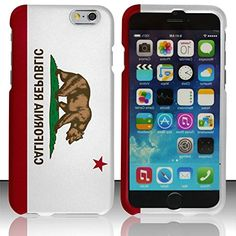 """myLife White, Red and Brown {California State Flag Bear} 2 Piece Snap-On Rubberized Protective Faceplate Case for the NEW iPhone 6 (6G) 6th Generation Phone by Apple, 4.7"""" Screen Version """"All Ports Accessible"""" myLife Brand Products http://www.amazon.com/dp/B00U0NHX16/ref=cm_sw_r_pi_dp_Xfhfvb0KW4YHT"""