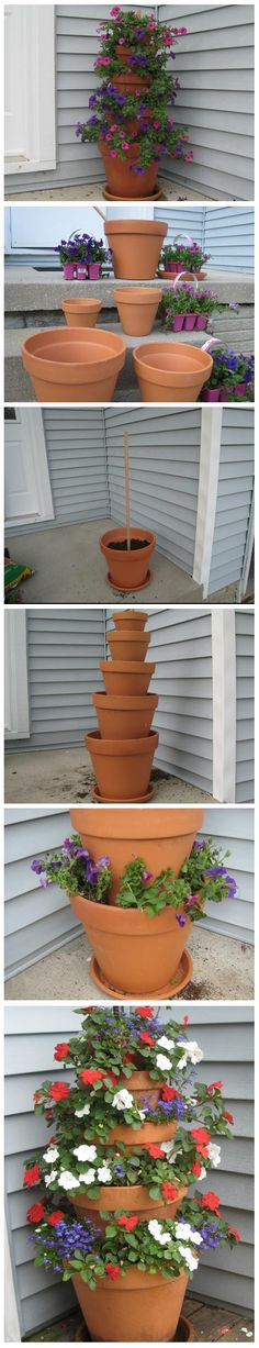 Terra Cotta Pot Flower Tower with Annuals Really want to do this and add to front porch. Great base idea can always change the flowers u put in!