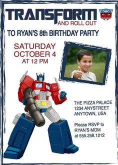 Transformers Optimus Prime Birthday Invitation Comes with Free Customized Printable Water Bottle Labels