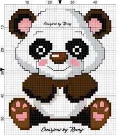 Schema panda maschietto punto croce