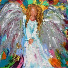 Original oil painting Angel of Hope 6x6 palette by Karensfineart