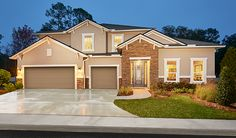 Looking for a two-story home that makes a statement? This Richmond American Francesca home in St. Augustine, FL, boasts a covered front entry with stunning stone detail, crisp white trim and a convenient 3-car garage.