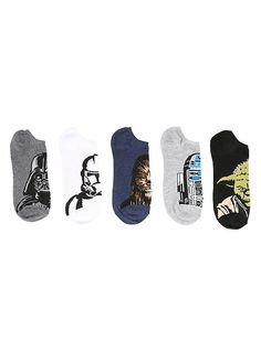 Star Wars Character Heads No-Show Socks 5 Pair,