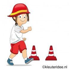 Bewegingsonderwijs met kleuters, thema brandweer, juf Petra van kleuteridee, voor nog veel meer gymlessen zie kleuteridee