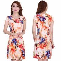 Women Fashion Casual Slim Round Neck Short Cap Sleeve Flower Print Pencil Short Dress