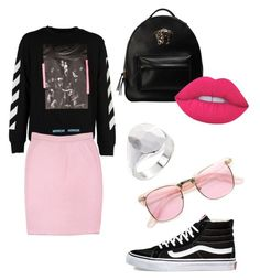"""Pink"" by indahif on Polyvore featuring Off-White, Versace, Vans, St. John, Lime Crime, Werkstatt:München and ZeroUV"