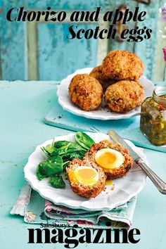 Pop these epic chorizo and apple Scotch eggs in your picnic hamper this summer Quick And Easy Appetizers, Best Appetizers, Egg Recipes For Lunch, Snack Recipes, Snacks, Hunt To Eat, Scotch Eggs Recipe, Homemade Mustard, Turkey Breakfast Sausage