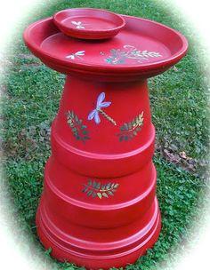 Make a birdbath from terra cotta pots