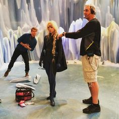 bonniejwallace: A moment between takes on the Skyvolt set. Featuring beloved 1st AD Dave Cove, and photo bombed by @thelucasadams #bts #livandmaddie