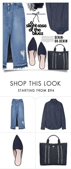"""""""All denim, head to toe"""" by alaria ❤ liked on Polyvore featuring SJYP, Uniqlo, Nine West, Tommy Hilfiger, Tom Ford and alldenim"""