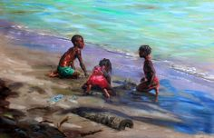 Children Playing in Sand, Johnathan Gladding Sand Painting, Sand Art, Black Girl Art, Art Girl, African American Art, African Art, Black Framed Art, Caribbean Art, African Children
