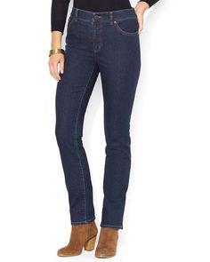 Lauren Ralph Lauren Slim Straight Leg Jeans in Rinse