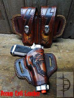 leather gun case holster magazine case 45 -9mm pistol custom skull concho belt