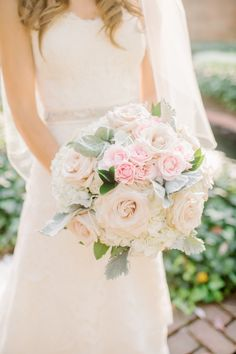 Traditional blush rose, hydrangea, and Dusty Miller bouquet | Photography: L Hewitt Photography - landmhewitt.com  Read More: http://www.stylemepretty.com/2015/06/04/airy-garden-wedding-at-aspen-wye-river/
