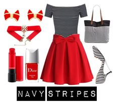 """""""Navy stripes"""" by kacenka-1 on Polyvore featuring Miss Selfridge, Chicwish, Christian Dior, Sole Society, Rip Curl and Ted Baker"""