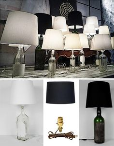 diy simple bottle lamp and other great decorating ideas using wine bottles.