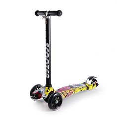 2 in 1 Adjustable 4 PU Wheel Kick Scooter OUTAD Mini Children Kick Scooter with Flashing Wheel with Tbar Handle Personality Graffiti Train BalanceRed *** Check this awesome product by going to the link at the image.