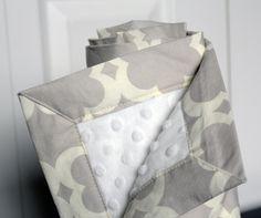 Baby Blanket, Grey and White Taza Minky baby blanket. $36.00, via Etsy.