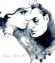 Love Romance Original Watercolor Illustration - Watercolor Painting Titled: More Love