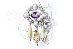 Silver pin pendant with amethyst, amber, pearl - product images  of SCHJ #silverbrooch #silverjewellery #jewelry #jewellery #brooch #amethyst #amber #jewelleryblog #jewelleryboutique