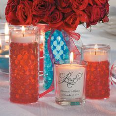 Red Table Setting - OrientalTrading.com 1. Fill glass jar with pearl beads and water 2. Put floating candles in jar 3. For a bright look, add a glow stick to the glass jar 4. Add flower bouquet of your choice 5. Accent with votives and votive candles 6. Complete your centerpiece with a floating candle bowl and floating candles