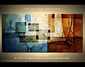 """Abstract multiple layers painting, Earth Tones, Blues, Sienna, Ochre, Ready to Hang by P. Nizamas 48"""""""