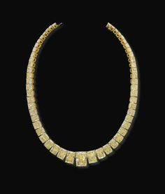 A magnificent radiant-cut yellow diamond necklace