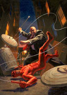 Daredevil vs Kingpin by Greg Hildebrandt Marvel Fight, Marvel Fan, Hells Kitchen, Semarang, Anime Comics, Marvel Comics, Comic Books Art, Comic Art, Daredevil Cosplay