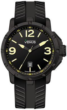 Matt black with yellow super luminous Arabic numerals and indexes Strap: Anti-allergic black rubber Buckle: black PVD coating on stainless steel, folding clasp Black Stainless Steel, Stainless Steel Bracelet, Cool Watches, Rolex Watches, Elegant Watches, Yellow Black, Blue, Black Rubber, Omega Watch