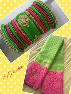 "Silk thread bangles # Bridal set # Green n pink combination # colors can be customised # For order visit our Facebook page ""SILK THREAD CREATORS"""