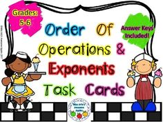 This is a set of 36 task cards to help students practice the concepts of evaluating expressions using the order of operations to do so, as well as, helping students practice putting problems in exponential form into standard form. This product is suggested for use with 5th grade and up.