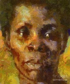 Portrait Painting - Study Of Black Woman by Dragica  Micki Fortuna
