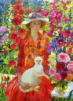 Woman and Cat by Olga Suvorova
