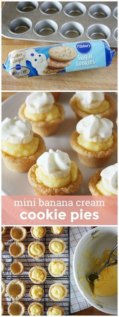 Mini Banana Cream Cookie Pies -- easy, bite-size banana pudding-filled cookie bites topped with fresh banana slices and whipped cream!