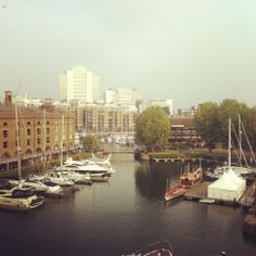 St Catherine's Dock, London.... looking over towards Canary Wharf