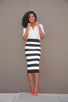Button Down x Striped Pencil Skirt