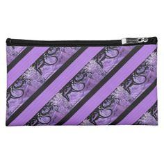 Purple and Black Striped Pattern Cosmetics Bag