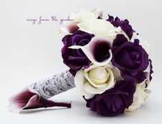 Purple & White Roses Picasso Calla Lilies Bridal Bouquet Real Touch Rose Grooms Boutonniere Purple Plum White Lace Wedding Bouquet by SongsFromTheGarden on Etsy https://www.etsy.com/listing/215121558/purple-white-roses-picasso-calla-lilies