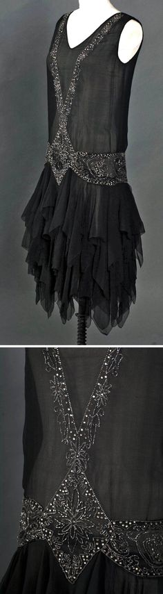Evening dress with tiered chiffon skirt, American, ca. 1929. Made for movement  dancing. Three layers of silk chiffon cut with handkerchief hem, with many points hanging down from substantial width of beading. Above this floating base, bodice hangs smooth  straight. Silver bugle beads  rhinestones. Smith College Historic Clothing