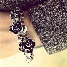 Instagram Silver Bracelet Rose Pearl Beads Feline Spirit Trollbeads