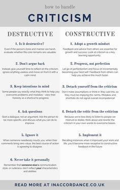 How To Handle Criticism – Mindset Changes and Action How to handle constructive and destructive criticism, using it to encourage personal growth – read more at IN ACCORDANCE Leadership Development, Communication Skills, Self Development, Personal Development, Leadership Activities, Leadership Tips, Effective Communication, Professional Development, Communication Activities