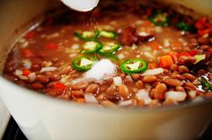 Spicy Beans:  This is a great meal on a cold winter day.  It's very easy to make and inexpensive too!  I have made this a couple times so far and served it with warm cornbread. YUM.