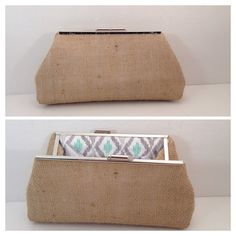 Burlap Clutch Purse with Nickel/Silver by StacyLavelleDesigns