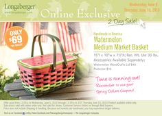 2010 Longaberger Watermelon Medium Market Basket