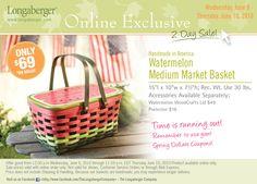 2010 Longaberger Watermelon Medium Market Basket