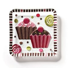 Glass Fusion Cupcake Snack Plate by Lori Siebert, Silvestri By Demdaco Fused Glass Plates, Fused Glass Art, Glass Fusion Ideas, Cupcake Collection, Glass Fusing Projects, Slumped Glass, Vintage Cupcake, Birthday Plate, Plates And Bowls