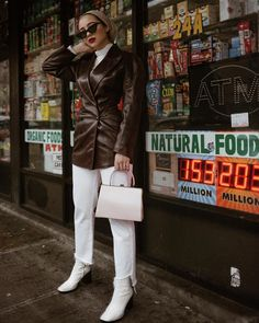 best leather jackets: Maria Alia in a double-breasted leather jacket by Azzedina Alaia and white jeans New Outfits, Cool Outfits, Casual Outfits, Biker Style, Jacket Style, Maria Alia, Best Leather Jackets, Modesty Fashion, Types Of Jackets