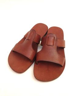 CUBIDO 2 Straps T Bar Leather Slide Handmade by BODRUMSANDALS, $120.00