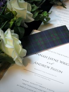 This simple understated design is timeless...One of our newer designs featuring classic white stationery with an elegant black typeface, complimented with a soft grey envelopes and the rich and traditional Spirit of Bannockburn tartan. Stationery Design, Wedding Stationery, Wedding Invitations, Tartan Wedding, Envelope Liners, Bespoke Design, Classic White, Save The Date, Envelopes